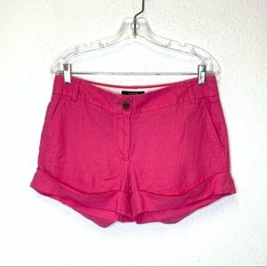 J. Crew 100% Linen Shorts in Hot Pink Size 8